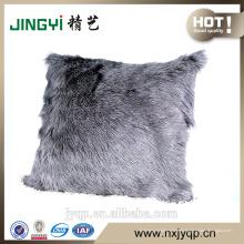 Milch Ziegenfell Haut Kissenbezug gefärbt einfarbig grau
