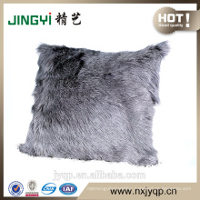Milk Goat Fur Skin Cushion Cover Dyed Single Color Grey