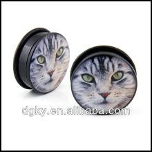 Ojo de gato de tigre de la cara de acrílico sola llamarada o anillo tapones para los oídos calibradores túnel sólido