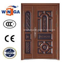 Puerta de cobre de acero del hierro Secuirty de Dould Doorleaf (W-STZ-04)