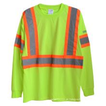 Manga longa de malha de poliéster de alta visibilidade reflexivo segurança t-shirt (yky2806)