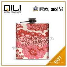 7oz stainless steel new style colorful leather wrapped hip flask