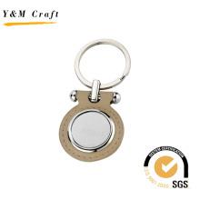 Porte-clés en cuir en métal promotionnel pour logo Laser