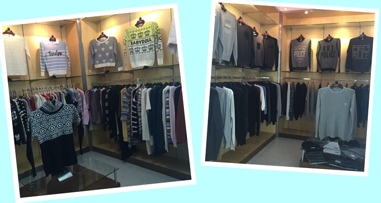 men and girl sweater showroom