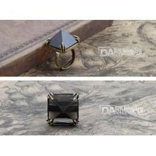 Мода Кольца Вставка Черный Кристалл Ювелирные Изделия Ретро Медь Цвет