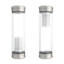 Delicate Design Borosilicate Glass Bottle, Tea Infuser Glass Water Bottle with Stainless Steel Lid Custom GlassBottle Water