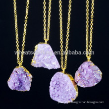 2015 new products natural stone druzy pendant necklace alibaba jewellery
