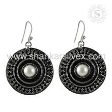 Handgemachte stilvolle Perle Edelstein Ohrring 925 Sterling Silber Großhandel Schmuck Jaipur Online Silber Schmuck