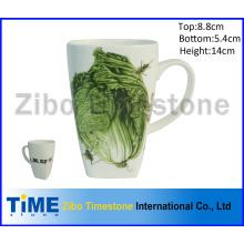 Quadratische superweiße Porzellan-Kaffeetasse
