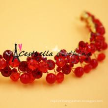 Casamento acessórios para cabelo jóias para cabelo artesanal caixa de noiva de cristal vermelho para mulheres