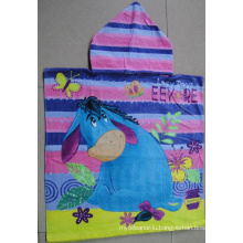 (BC-PB1012) Hot-Sell 100% Cotton Printed Cutely Kids Beach Poncho
