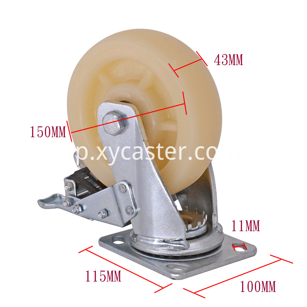 6 Inch Pp Caster Wheel With Brake