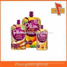 Venda quente e bolsa de bebida de impressão bonito com embalagem de bico para pudim de frutas