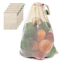 100% organic cotton vegetable mesh bags handle set for shopping
