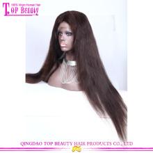 Qingdao Top-Qualität rohe unverarbeitete lange schwarze gerade brasilianische Haarspitzefrontseite Perücke