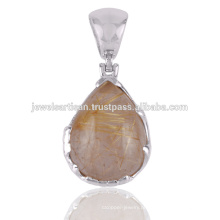 Rutilated Gemstone 925 Pingente de prata sólida Jóias