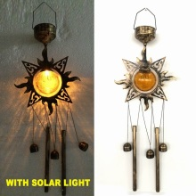 Popular Metal Sunface Garden Glass Ball Solar Powered Wind chime Craft