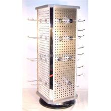 Calidad de regalos garantizados Tienda de metal Promocional Cubierta de la tapa giratoria 4-Sided Llavero Display Stand