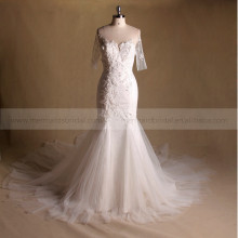 Stunning Mermaid Exquisite Beaded Lace Wedding Dress With Beautiful Long Train