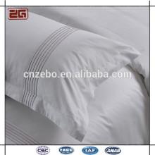 Hot Sale Branco Sateen tecido com bordado Logo Hotel Pillow Case