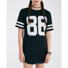 Custom Cotton Number Printed Hot Wholesale Black Summer Fashion Women T Shirt