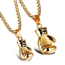 Silber Gold Schwarz Regenbogen Boxhandschuh Anhänger Halskette