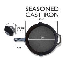 12-Inch Round Cast Iron Seasoned Skillet