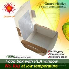 Envasado de cajas de alimentos con ventana antivaho