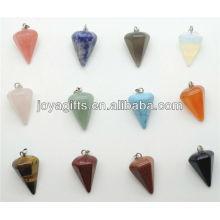 Fashion 6 Side Cone forma de piedra semi preciosa colgante colgante de piedra semi preciosa
