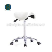 Taburete de silla de montar de cuero sintético blanco de alta qualilty en taburete barbar con base de cromo