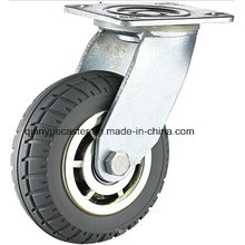 High Quality Heavy Duty Grey PU Caster with Brake Flame Caster