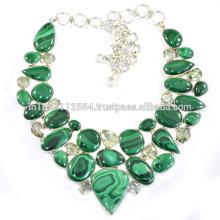 Malaquita e ametista verde com jóias em prata esterlina de 925