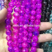 talão de pouso feito à mão 8mm rosa flor lampwork contas de vidro crackle