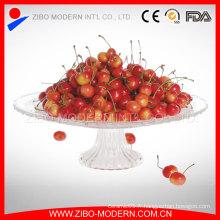 Plaque de fruits en verre rond à 12 po et large avec support