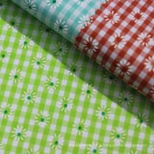 Tecido de algodão estampado de moda tingido para toalha de mesa