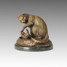 Tier Statue Mutter-Sohn Katzen Bronze Skulptur Tpal-085