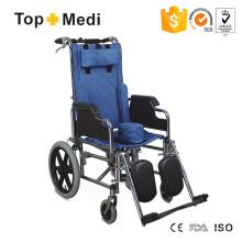 Kostengünstiger Stahlrollstuhl mit hoher Rückenlehne für Kinder mit Zerebralparese
