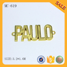 MC619 Vente en gros d'imitation en or petite étiquette en métal personnalisé