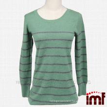 Stripe Green Cashmere Knit Sweater
