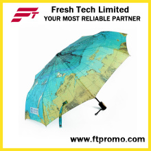OEM Map Sunflower Folding Umbrella with Logo