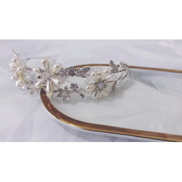 Factory wholesale Shiny wedding jewelry tiara embellished Bridal Crystal Crown Freshwater pearl rhinestone headband
