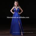 атласные длинные дизайн невесты платье модели сексуальный глубокий V-образный вырез и высокий разрез королевский синий невесты платье для свадьбы