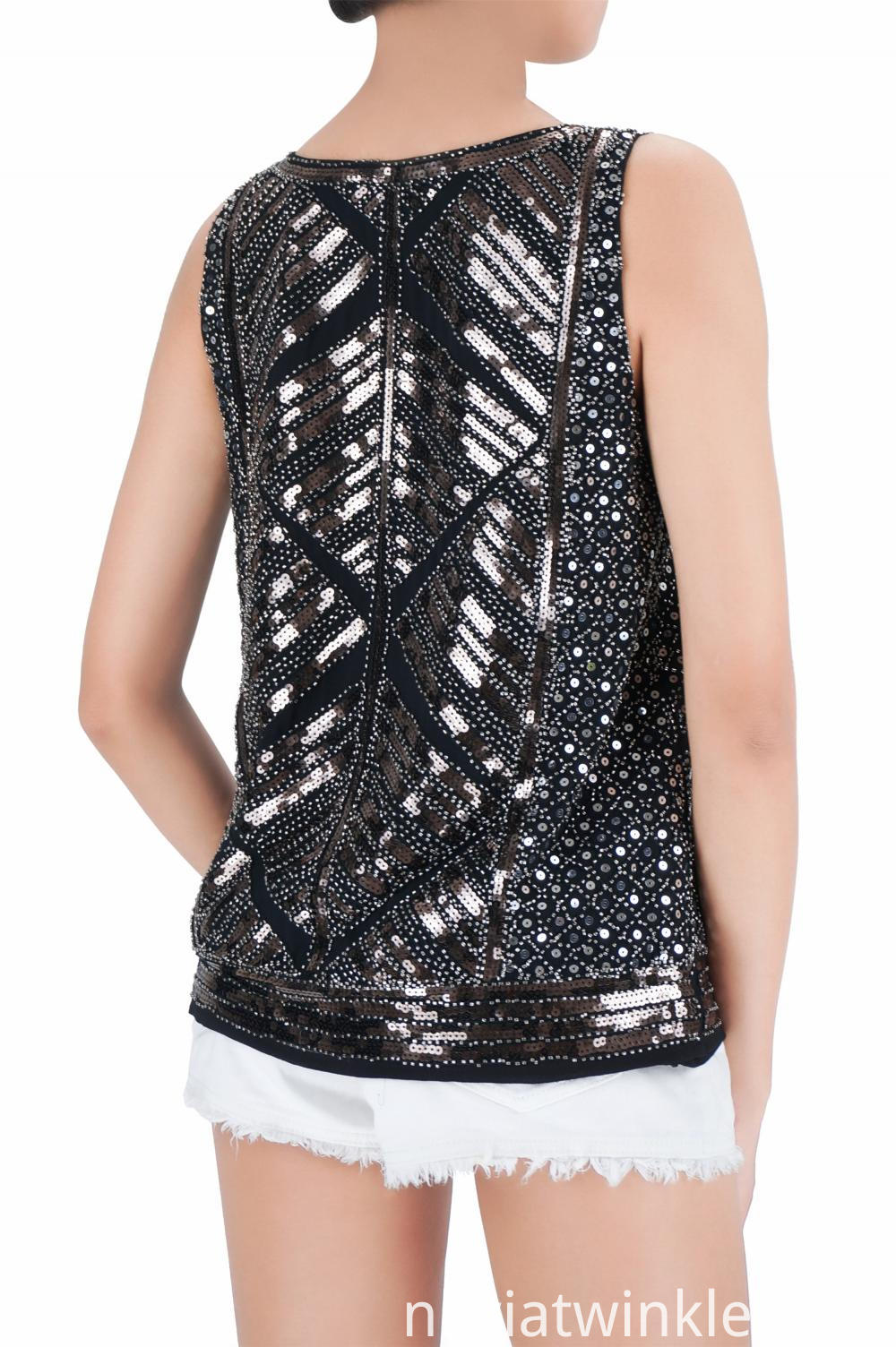 Girls Embroidered Sequin Tank Tops