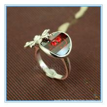 Fashion white gold backs anneaux en pierre rouge pour femmes