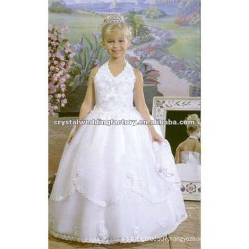Vintage appliqued beaded halter V-neckline ball gown pageant custom-made flower girl dresses CWFaf3914