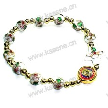 Weiße Cloisonne Perlen mit Gold Alloy Wafer Fashion Armband