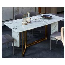 Mesa de jantar quadrada de mármore com base em aço inoxidável