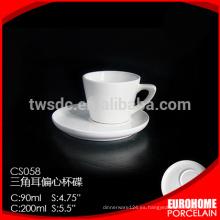 250ml Cafe taza y plato para hoteles y restaurantes