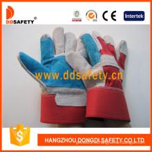 Azul guantes de cuero reforzado rojo algodón guantes de seguridad trasera (dlc320)