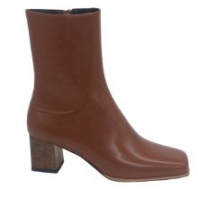 Boot Square Block Heel Women Shoes Heels Square Toe Boots Square Heel Ladies Brown Zipper Ankle Shoes Women Boots